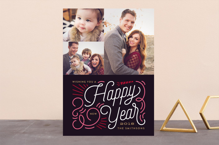 """Swirl New Year"" - New Year Photo Cards in Onyx by Genna Cowsert."