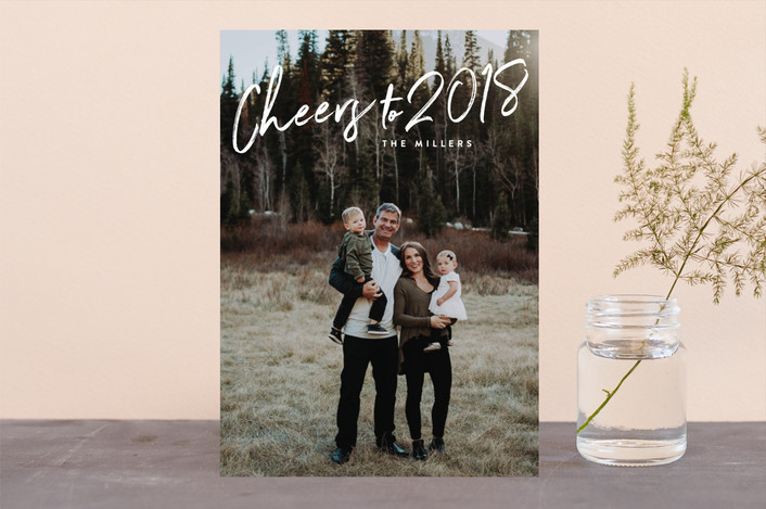 """""""Cheers"""" - New Year Photo Cards in Snow by Owl and Toad."""