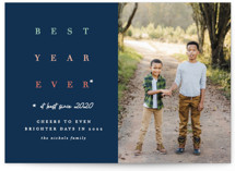 This is a blue new year photo card by Erica Krystek called Whatever! with standard printing on smooth signature in standard.
