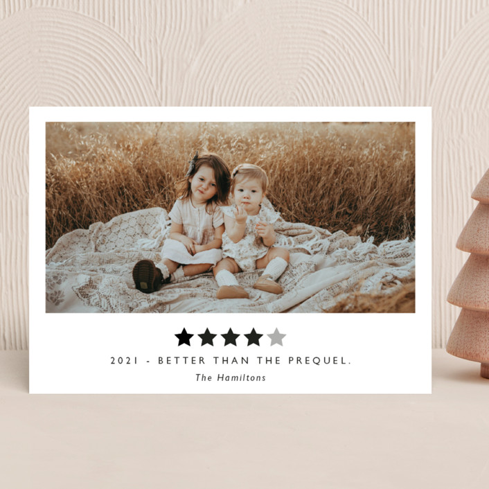 """Rating 2020"" - Funny New Year Photo Cards in Snow by Hudson Meet Rose."