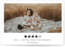 This is a white new year photo card by Hudson Meet Rose called Rating 2020 with standard printing on smooth signature in standard.