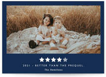 This is a blue new year photo card by Caitlin Considine called Rating 2020 with standard printing on smooth signature in standard.