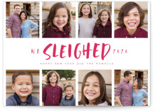 This is a red new year photo card by Lori Wemple called Sleighed with standard printing on smooth signature in standard.