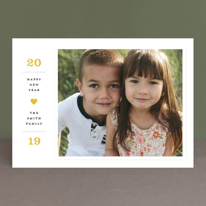"""Modern Statement"" - New Year Photo Cards in Banana by Michelle Taylor."