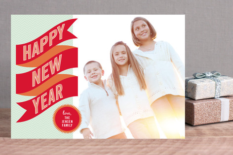 Banner + Burst New Year Photo Cards
