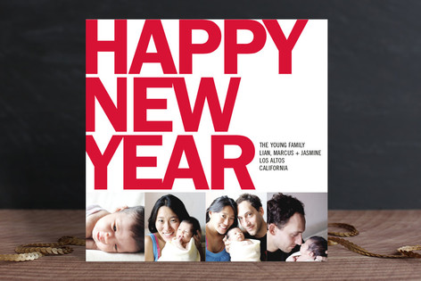 Four Square New Year Photo Cards