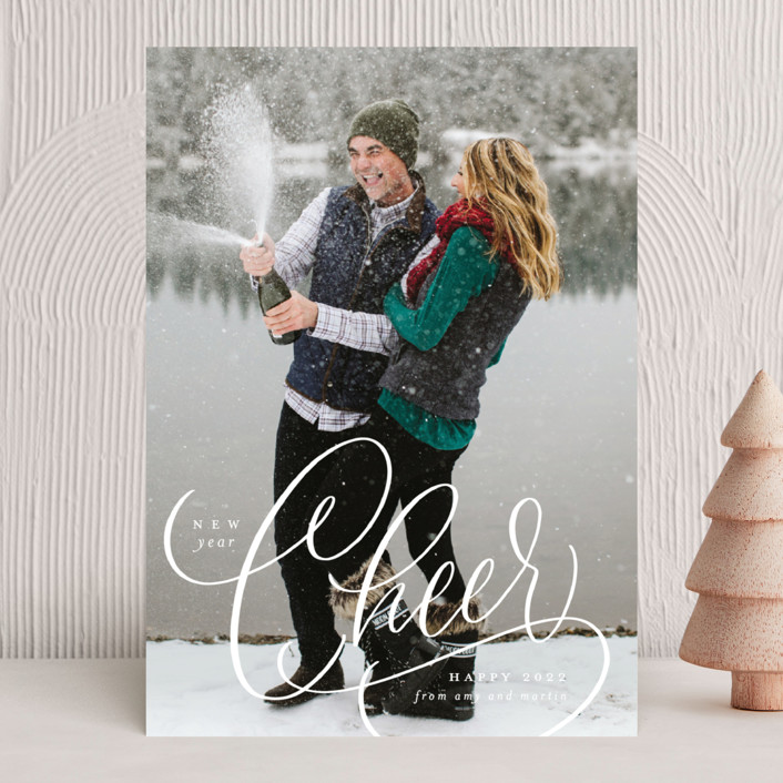 """""""Cheer"""" - New Year Photo Cards in Snow by Erin German."""