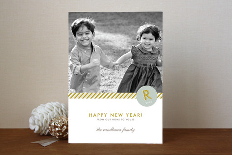 Monogram Prep New Year Photo Cards