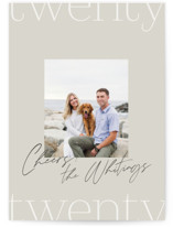 This is a beige new year photo card by Robert and Stella called 2020 Stack with standard printing on signature in standard.