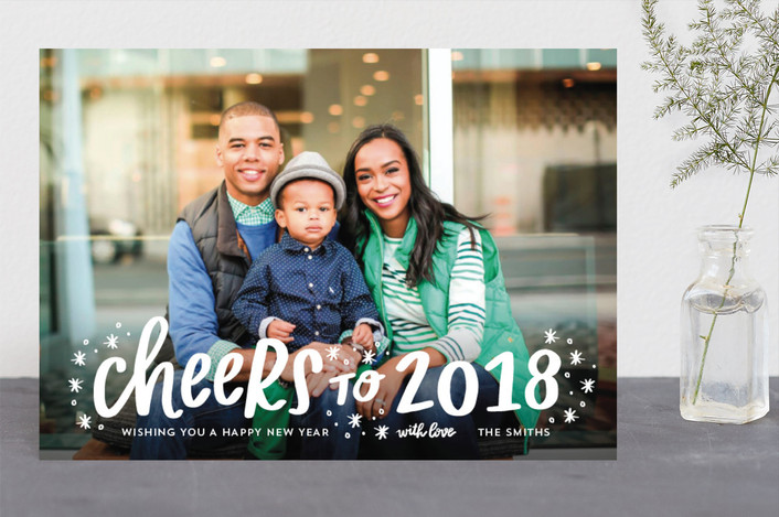 """Snowflake Cheer"" - New Year Photo Cards in Snow by Little Print Design."