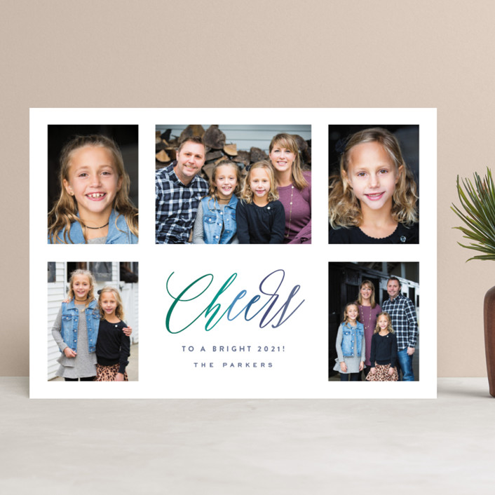 """Bright Five"" - Bohemian New Year Photo Cards in Wintergreen by Hooray Creative."