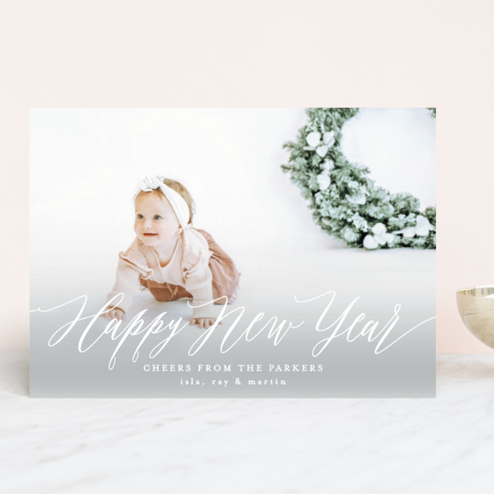 """Lovely New Year"" - New Year Photo Cards in Snowfall by AK Graphics."