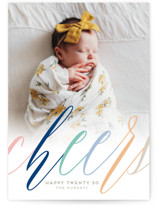 This is a colorful new year photo card by Kaydi Bishop called Cheerfully Bright with standard printing on smooth signature in standard.