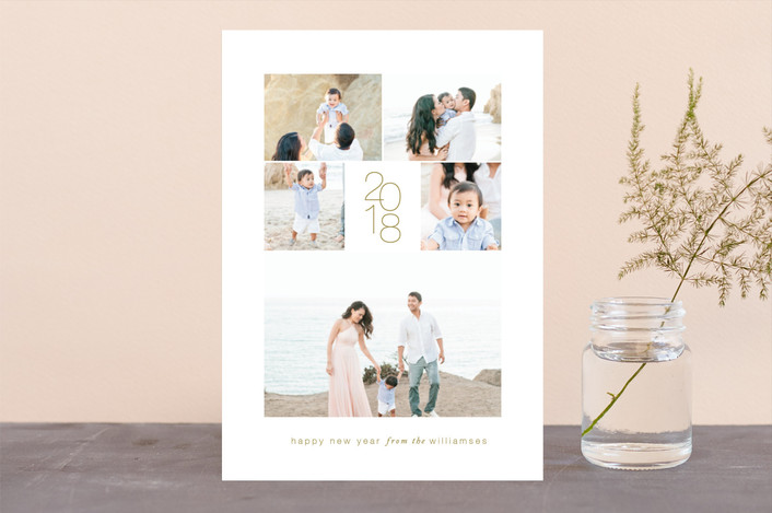 """Fresh Beginning"" - New Year Photo Cards in Golden by Kimberly FitzSimons."