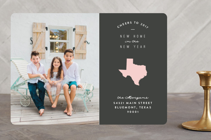 """Classic Move"" - New Year Photo Cards in Blush by Owl and Toad."