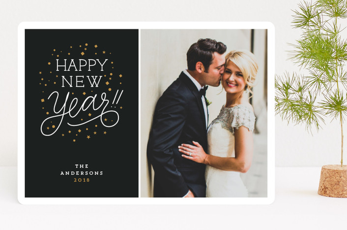 """""""Confetti"""" - New Year Photo Cards in Midnight by Up Up Creative."""