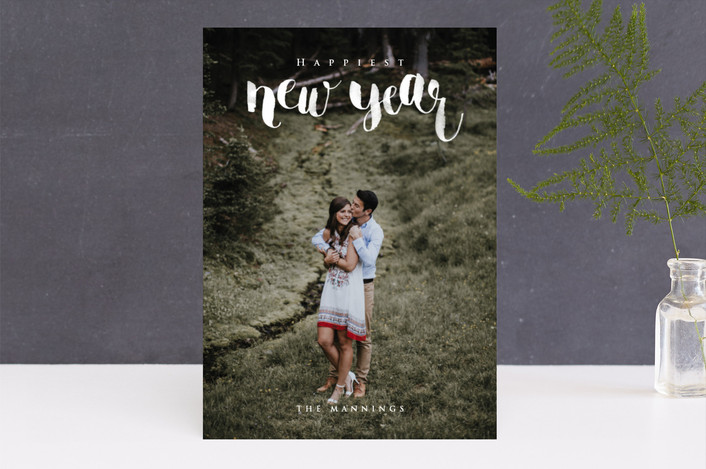 """Brush Lettered New Year"" - New Year Photo Cards in Snowfall by Four Wet Feet Studio."