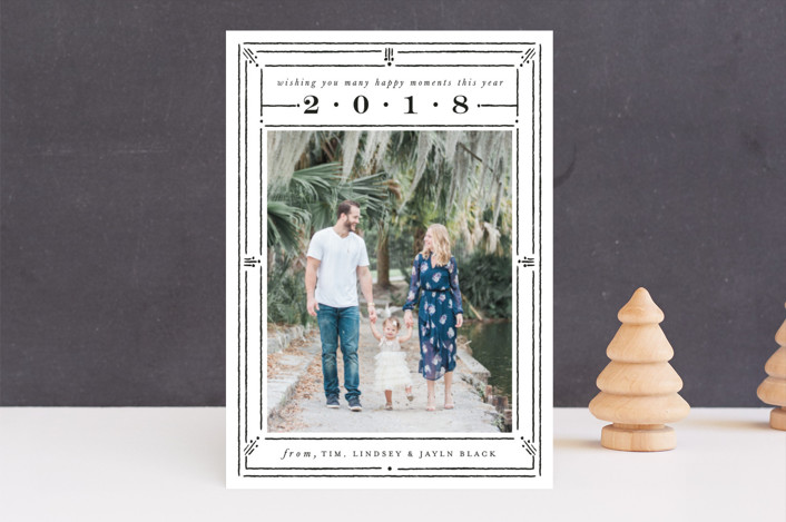 """""""Line Dot Frame"""" - Vintage New Year Photo Cards in Ink by Shiny Penny Studio."""
