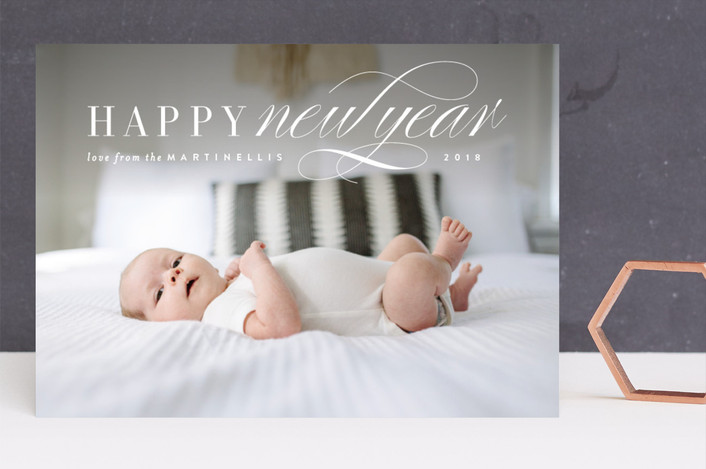 """Classic Note"" - New Year Photo Cards in Snow by Kristie Kern."