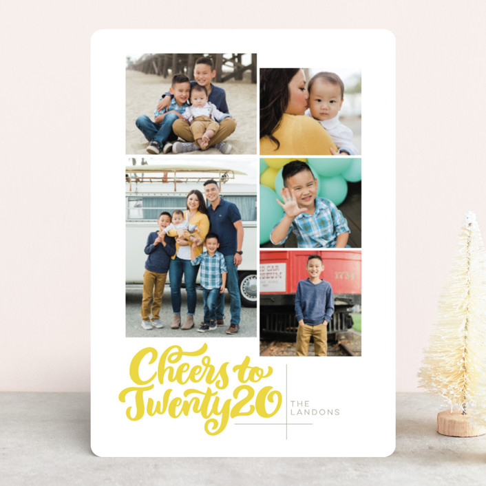 """Spelled Out"" - New Year Photo Cards in Citron by Laura Bolter Design."