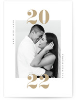 This is a brown new year photo card by Erin Deegan called twenty-twenty-one with standard printing on smooth signature in standard.
