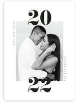This is a white new year photo card by Erin Deegan called twenty-twenty-one with standard printing on smooth signature in standard.