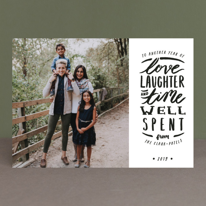 """Time Well Spent"" - Bohemian New Year Photo Cards in Midnight by Shiny Penny Studio."