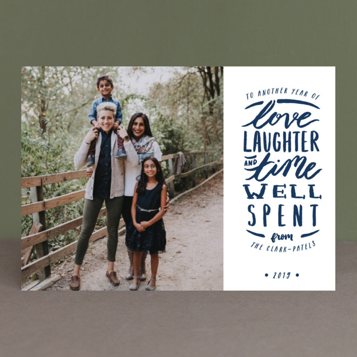 """Time Well Spent"" - Bohemian New Year Photo Cards in Navy by Shiny Penny Studio."