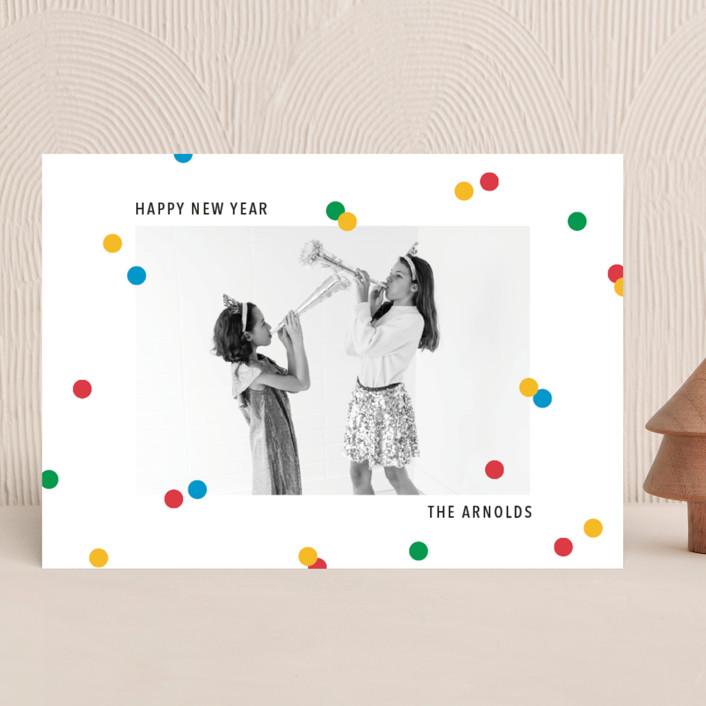 """vibrant confetti"" - New Year Photo Cards in Cherry by Ellen Schlegelmilch."