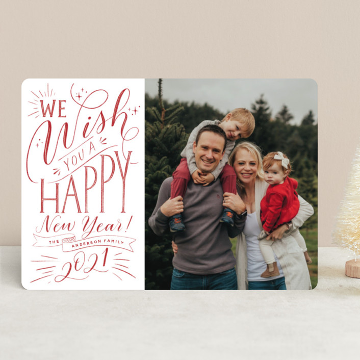 """""""Hand-lettered Wish"""" - Vintage New Year Photo Cards in Peppermint by Nicole Barreto."""