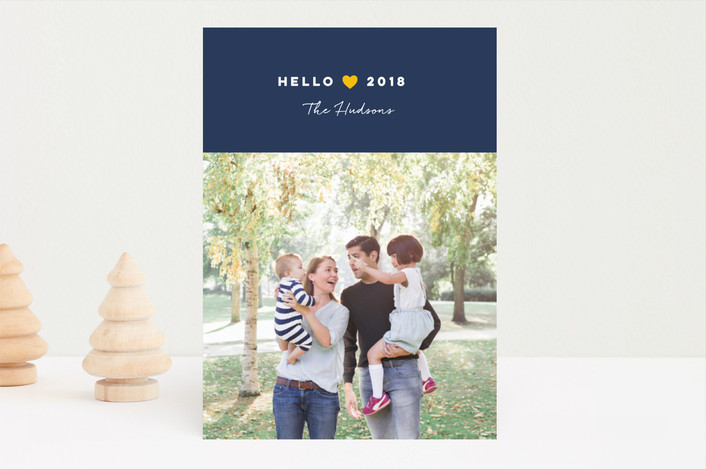 """From Our Heart"" - New Year Photo Cards in Navy by Jana Volfova."