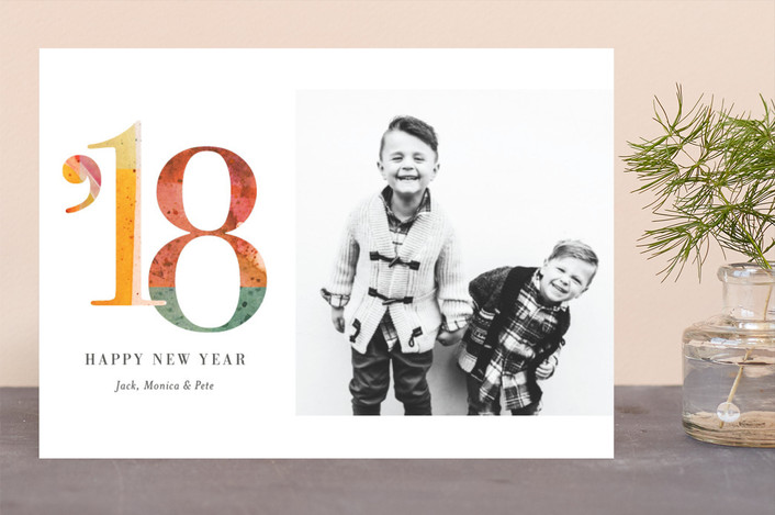 """""""Splashed"""" - Modern New Year Photo Cards in Tangerine by Snow and Ivy."""