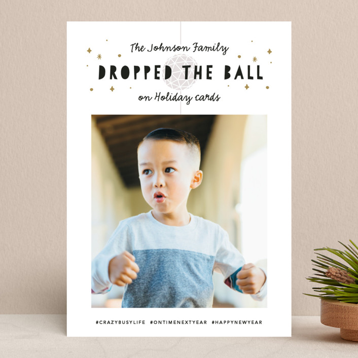 """Dropped the Ball"" - Funny New Year Photo Cards in Navy by Jackie Crawford."