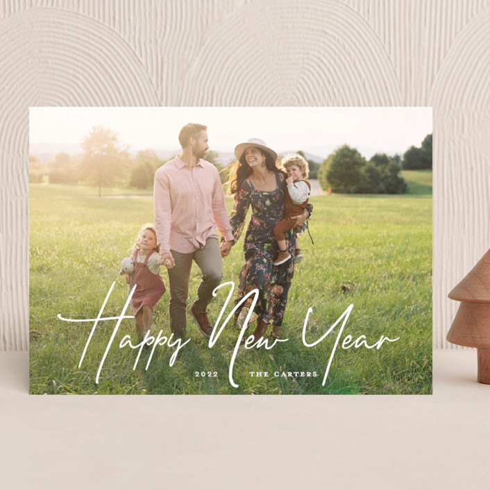 """New Year Script"" - New Year Photo Cards in Snow by GeekInk Design."