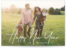 This is a white new year photo card by GeekInk Design called New Year Script with standard printing on smooth signature in standard.