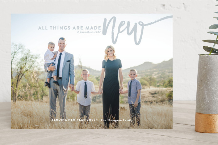 """all things are made new"" - New Year Photo Cards in Slate by Guess What Design Studio."