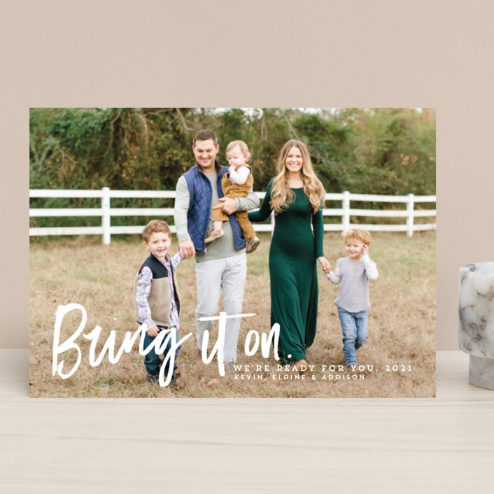 """Bring it on"" - Funny New Year Photo Cards in Snow by Lea Delaveris."