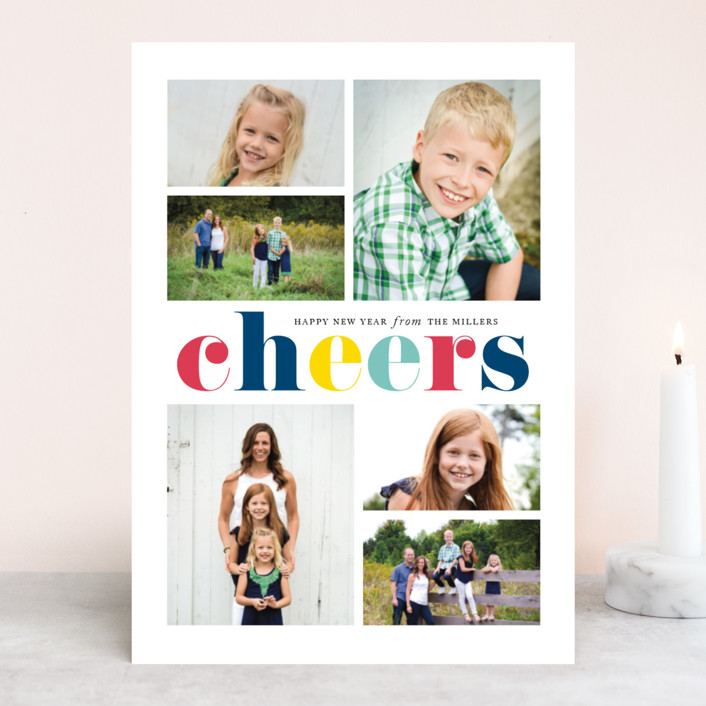 """""""Colorful Cheers"""" - Modern New Year Photo Cards in Royal by Jennifer Postorino."""