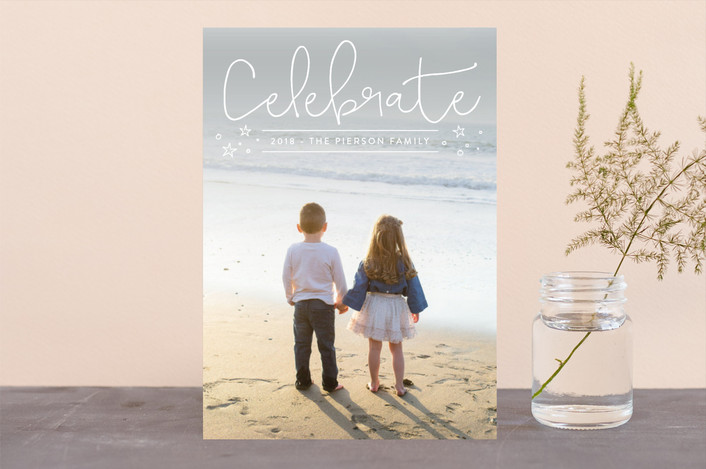 """a dash of fun"" - New Year Photo Cards in Cotton by Erin Deegan."