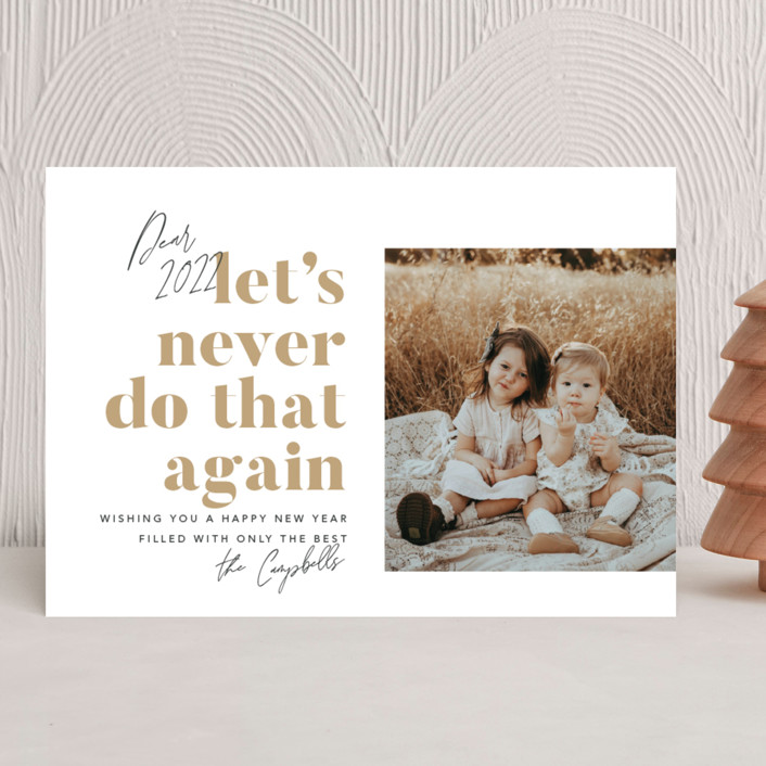 """Never Again"" - Funny New Year Photo Cards in Snowflake by Robert and Stella."
