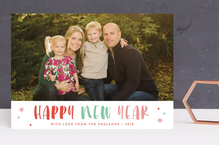 """""""Sorbet"""" - Modern New Year Photo Cards in Colored Lights by Carolyn MacLaren."""