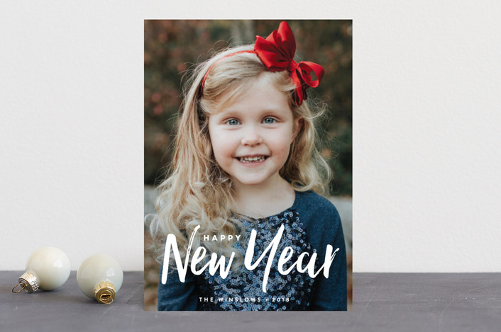 """""""Broad Strokes"""" - Modern New Year Photo Cards in Snow by Olivia Raufman."""