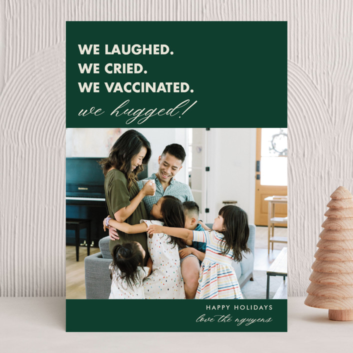 """""""We Made It"""" - Funny New Year Photo Cards in Pine by Beth Schneider."""