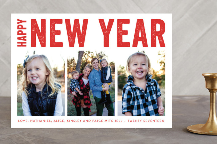 """Merry Triptych"" - Photo Collage, Modern New Year Photo Cards in Stocking by Susan Asbill."
