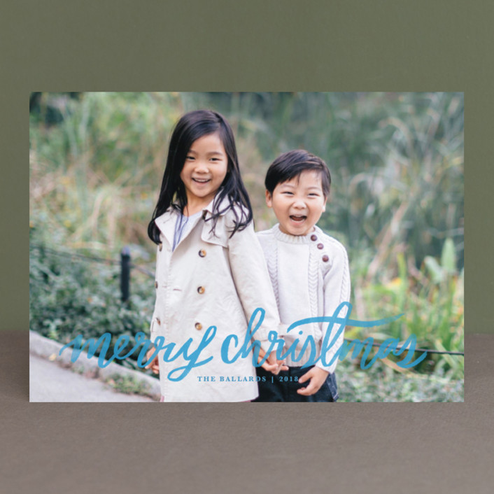 """""""Hand Lettered Merry"""" - New Year Photo Cards in Marshmallow by Kristen Smith."""