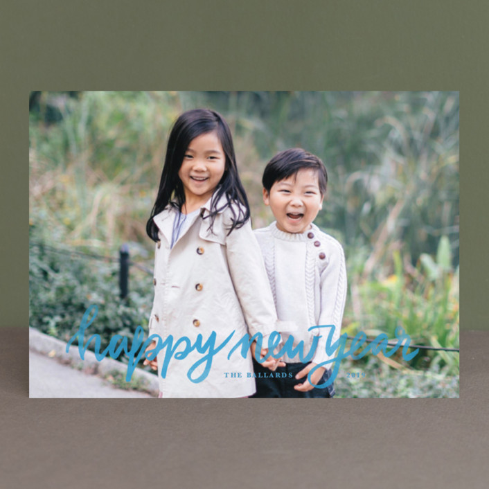 """""""Hand Lettered Merry"""" - New Year Photo Cards in Frozen by Kristen Smith."""