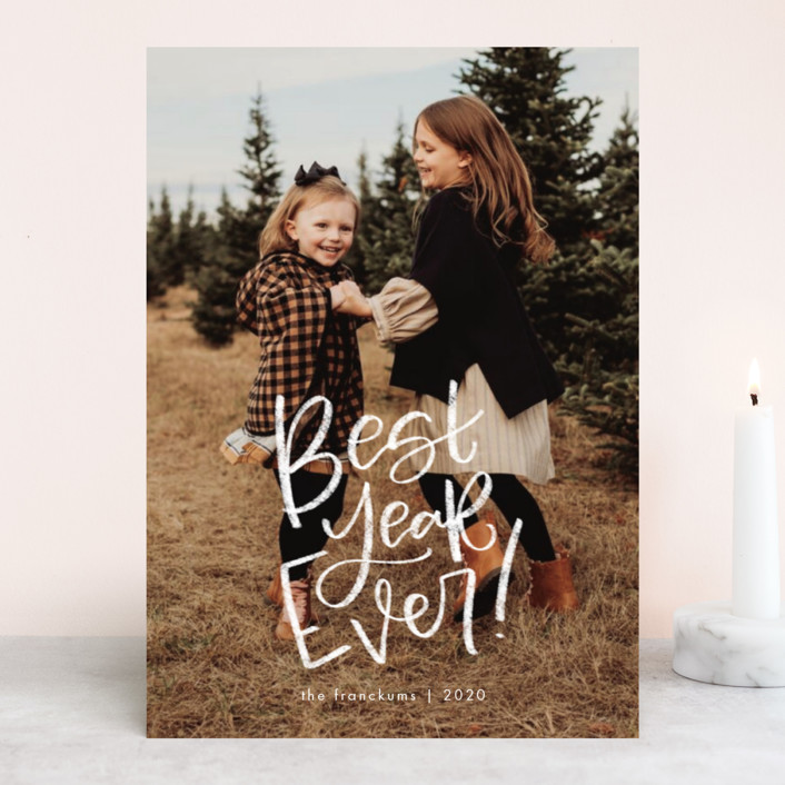 """The Best Ever"" - New Year Photo Cards in Snowfall by Amy Payne."