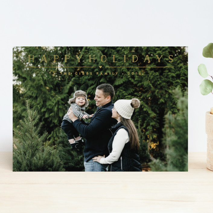 """""""Height of Happiness"""" - New Year Photo Cards in Golden by Carolyn MacLaren."""