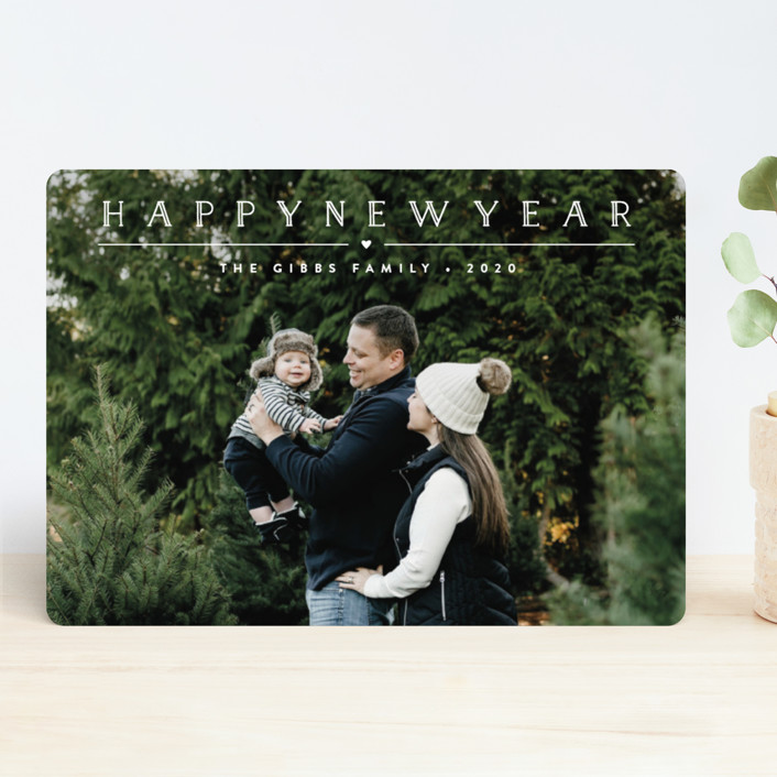 """Height of Happiness"" - New Year Photo Cards in Snowfall by Carolyn MacLaren."