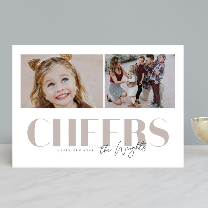 """""""Dusty Neutral"""" - New Year Photo Cards in Mauve by Anna Elder."""